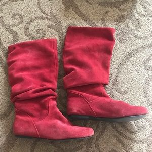 Steve Madden Slouch Tianna Boots in Red Suede